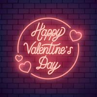 Neon valentins dag illustration