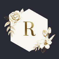 Vintage blommig emblem