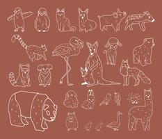 Handd-rawn dell'illustrazione della raccolta della fauna selvatica