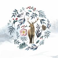 Deer surrounded by winter bloom watercolor vector