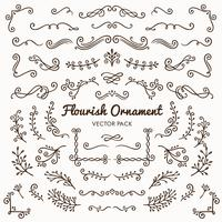 Flourish ornaments calligraphic design elements vector set illustration