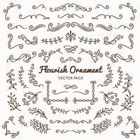 Illustrazione stabilita di vettore degli elementi calligrafici di progettazione degli ornamenti di Flourish
