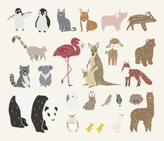 Vector of various types of animals