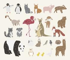 Vecteur de divers types d'animaux