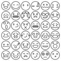 Emoji emoticons definir expressão expressão sentimentos coleção vector illustration