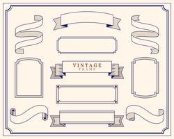 Collection of vintage ornament frame illustration