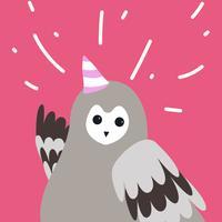 Búho gris lindo que lleva un vector de dibujos animados de sombrero de fiesta