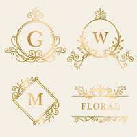 Colección de logos enmarcados en oro.