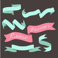Mint green ribbon banner set collection vector illustration