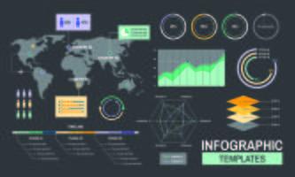 Infographic templates progress analysis charts graph illustration