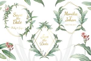 Vecteur de cadres invitation mariage floral vert