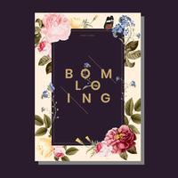 Ilustración de tarjeta flor marco floral