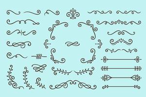 Conjunto de coleta de elementos de ornamento Vintage em fundo azul