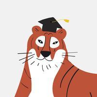 Tigre bonito dos desenhos animados, usando um gráfico de vetor de chapéu de formatura