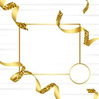 Blank guld emblem med konfetti vektor