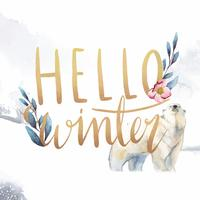 Hello winter watercolor typography vector