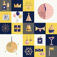 Nytt år ikoner sätta vektor