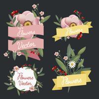 Vackert utformade blommor vektor