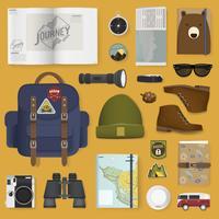 Ilustración de juego de embalaje de viaje