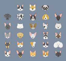 Illustration av olika raser av hundar