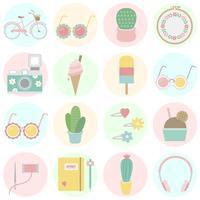 Ensemble d'icônes amusantes et girly