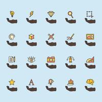 Illustrazione delle icone di progettazione grafica messe