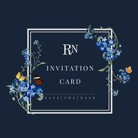 Wedding invitation floral card illustration