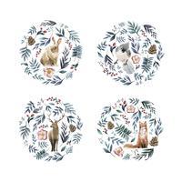 Vilda djur med blommor och blad målade av akvarell