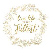 Ilustração, de, saudação, palavra, decorado, com, grinalda flor