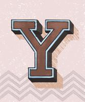 Capital letter Y vintage typography style