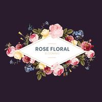 Tarjeta de marco floral rosa floreciente