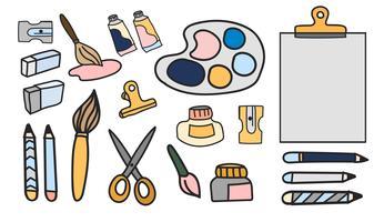 L'insieme di vettore di arte dipinge lo stile di scarabocchio della cancelleria