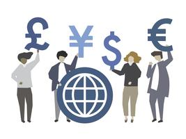 Människor som håller global valuta symbol illustration