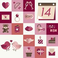 valentines icons set vector