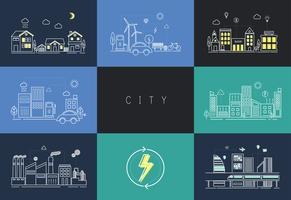 Illustration set of an urban city