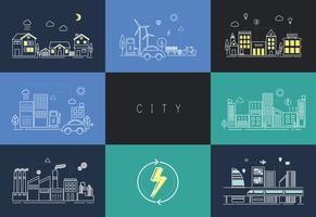Insieme dell'illustrazione di una città urbana