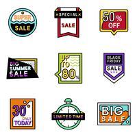 Conjunto de desenhos de distintivo de venda
