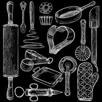 Illustration of a set of kitchen tools