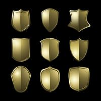 Golden Baroque shield elements vector set