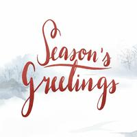 Seasons Greetings watercolor typography vector
