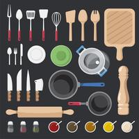 Kitchen utensils and ingredients vector set