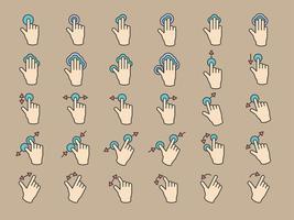 Ilustración de pantalla táctil con gesto de manos en línea delgada.