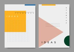 Set of minimal Memphis start-up poster vector
