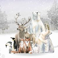 Grupo de animales salvajes en la nieve dibujados en acuarela.
