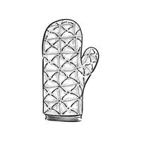 Vintage illustration of an oven mitten