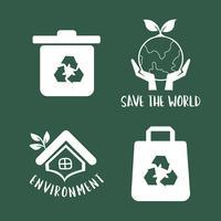 Ilustración de conjunto de símbolo de conservación del medio ambiente