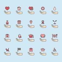 Illustration av donation support icons set