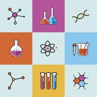 Set di icone di laboratorio di scienza