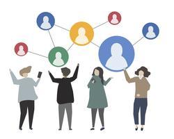 Illustration de la connexion en ligne aux médias sociaux