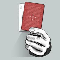 Vettore della mano che tiene la carta da gioco casuale